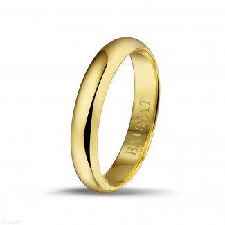 黄金钻石结婚戒指 - 男士黄金戒指宽度为4.00毫米