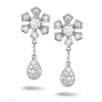 铂金 - 设计系列0.90克拉铂金钻石花耳环