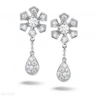 铂金耳环 - 设计系列0.90克拉铂金钻石花耳环