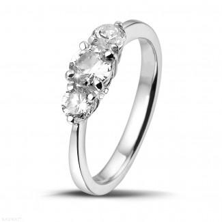 钻石求婚戒指 - 爱情三部曲0.95克拉三钻白金戒指