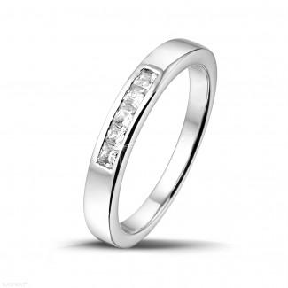 男士求婚戒指 - 0.30克拉公主方钻白金永恒戒指