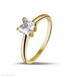 钻石戒指 - 1.00克拉黄金公主方钻戒指
