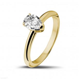 钻石求婚戒指 - 1.00克拉黄金梨形钻石戒指