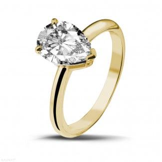 黄金钻石求婚戒指 - 2.00克拉黄金梨形钻石戒指