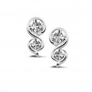 钻石耳环 - 1.00克拉白金钻石耳钉