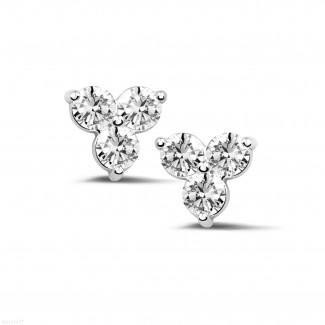 钻石耳环 - 1.20克拉白金三钻耳钉