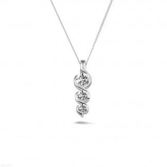 白金钻石项链 - 三生石0.57克拉三钻白金吊坠