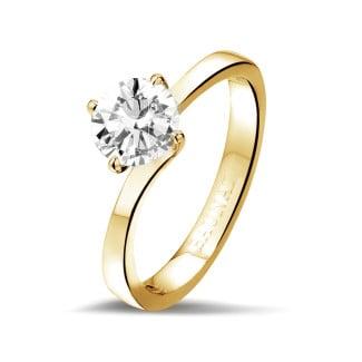 钻石戒指 - 1.00克拉黄金单钻戒指