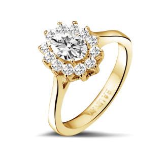 钻石戒指 - 1.00 克拉黄金椭圆形钻石戒指