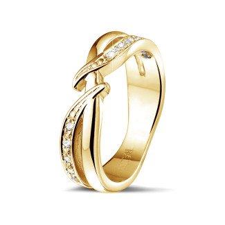 黄金钻石结婚戒指 - 0.11克拉黄金钻石戒指