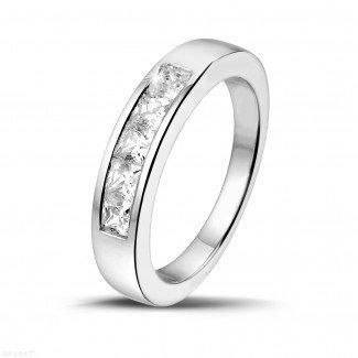 铂金钻石结婚戒指 - 0.75克拉公主方钻铂金永恒戒指